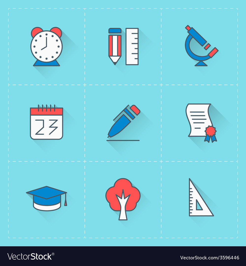 Education icons icon set in flat design style for vector | Price: 1 Credit (USD $1)