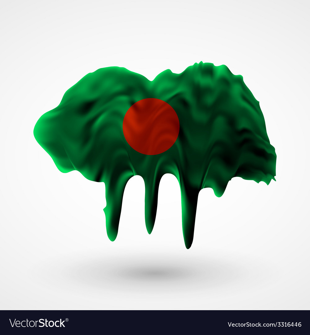 Flag of bangladesh painted colors vector | Price: 1 Credit (USD $1)