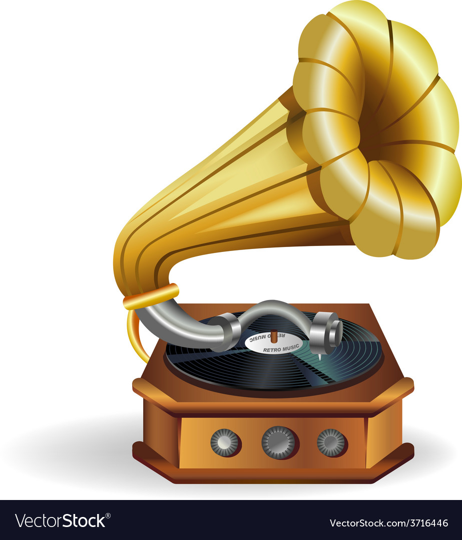 Gold gramophone vector | Price: 1 Credit (USD $1)