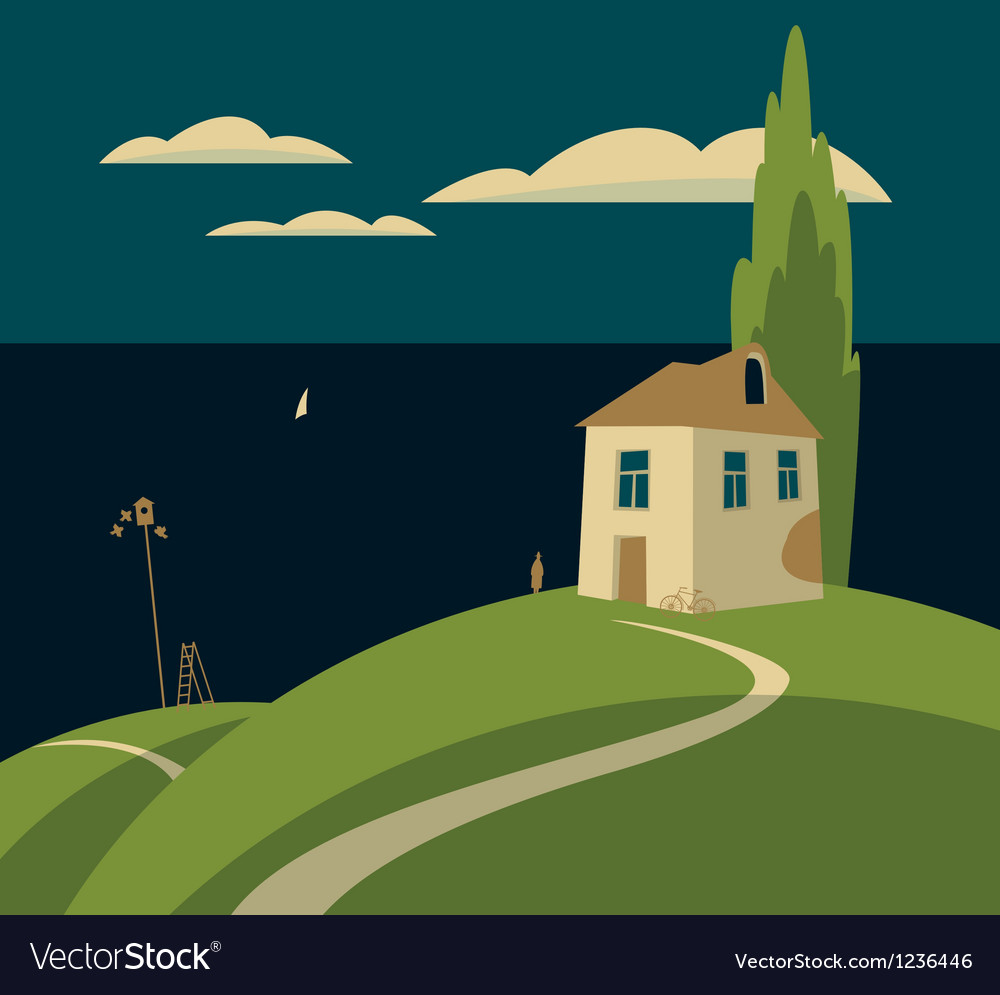 House by the sea vector | Price: 1 Credit (USD $1)