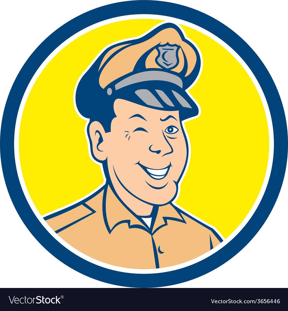 Policeman winking smiling circle cartoon vector | Price: 1 Credit (USD $1)