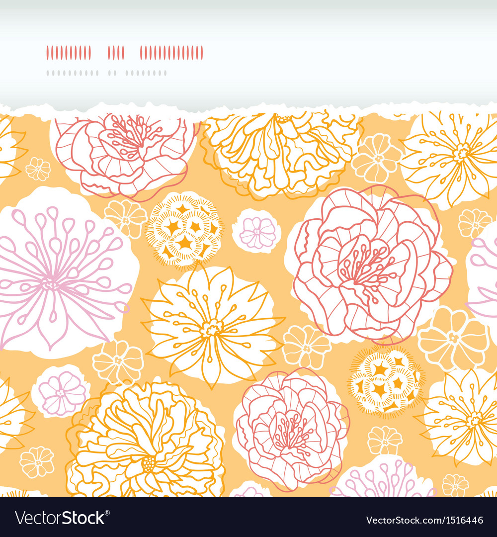 Warm day flowers horizontal decor torn seamless vector | Price: 1 Credit (USD $1)