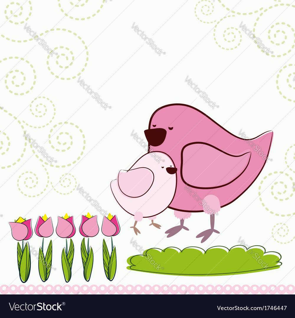 Background with cartoon birds vector | Price: 1 Credit (USD $1)
