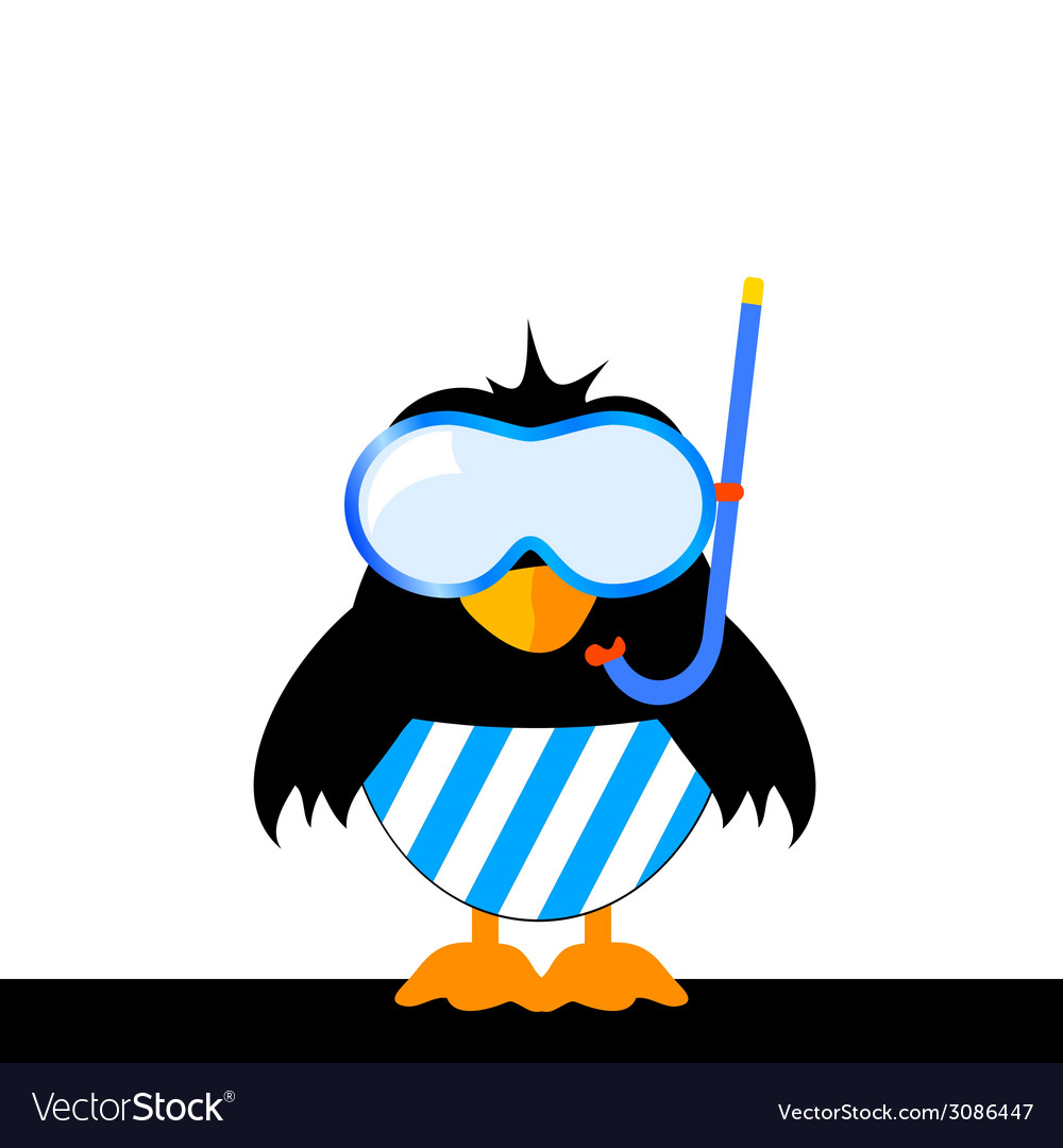 Bird with blue shorts and a diving mask vector
