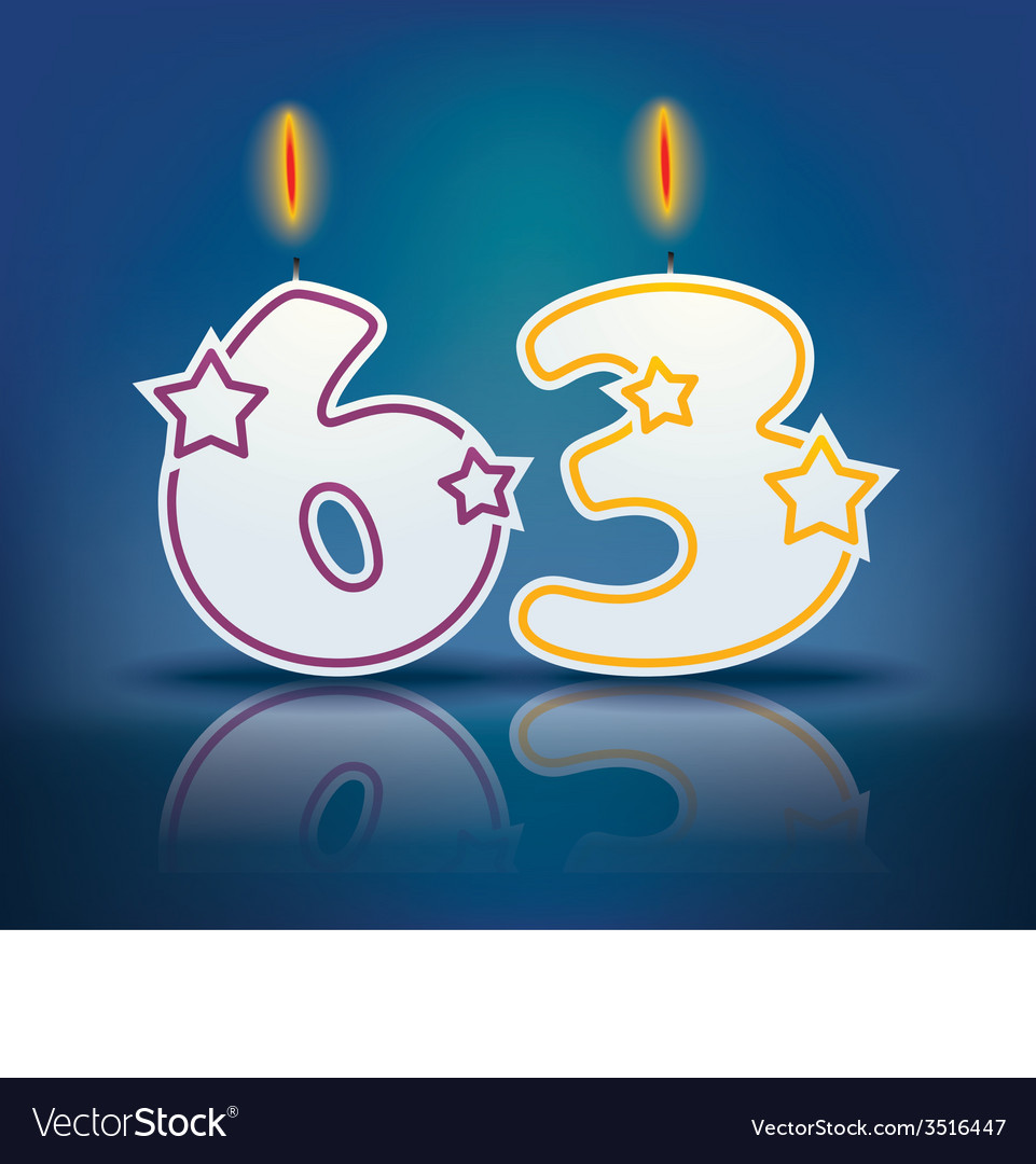 Birthday candle number 63 vector | Price: 1 Credit (USD $1)