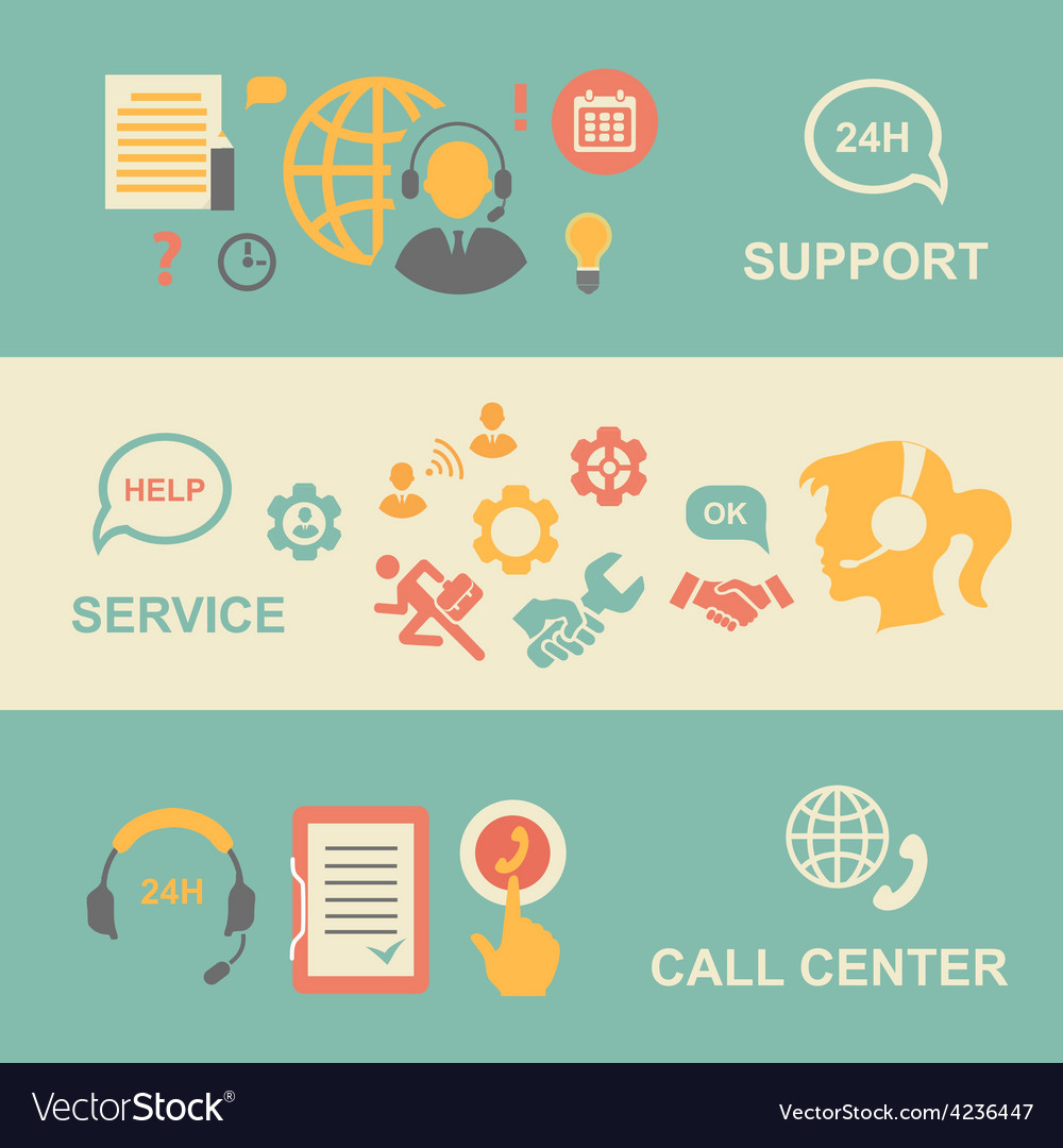 Call center banners set with support and service vector | Price: 1 Credit (USD $1)