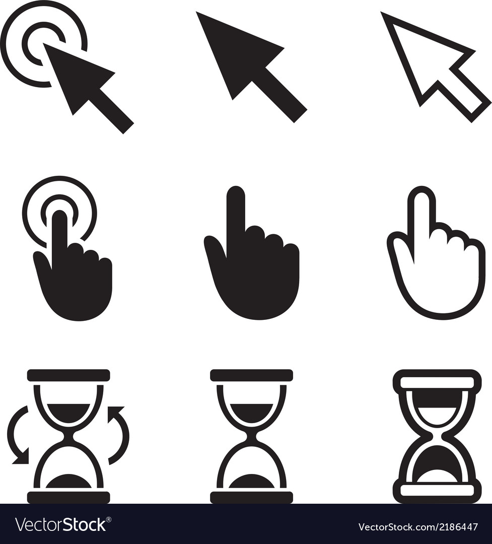Cursors icons mouse hand arrow hourglass vector | Price: 1 Credit (USD $1)