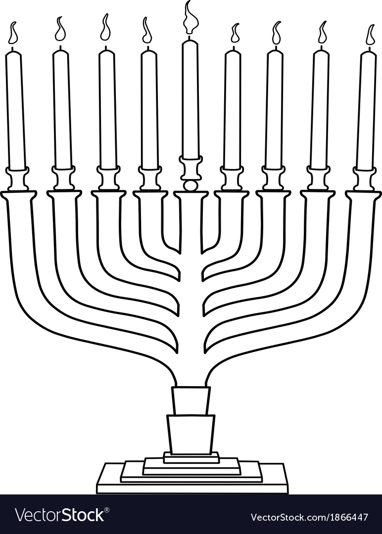 Hanukkah lamp hanukkiah coloring page vector | Price: 1 Credit (USD $1)