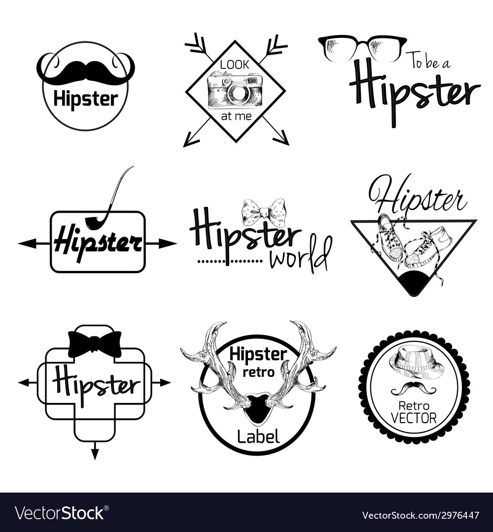 Hipster label set vector | Price: 1 Credit (USD $1)