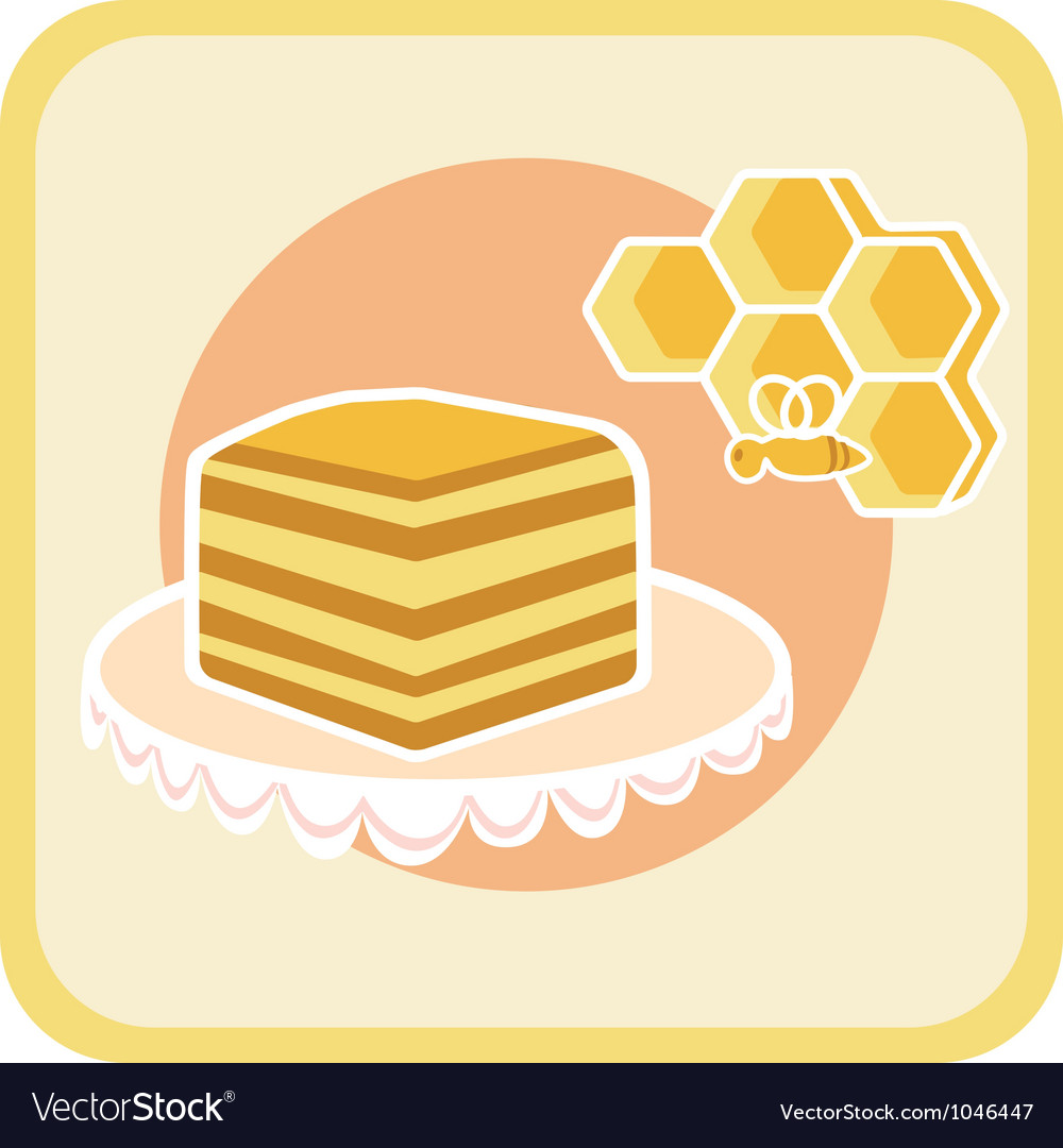 Piece of honey cake and bee on honeycomb vector | Price: 1 Credit (USD $1)