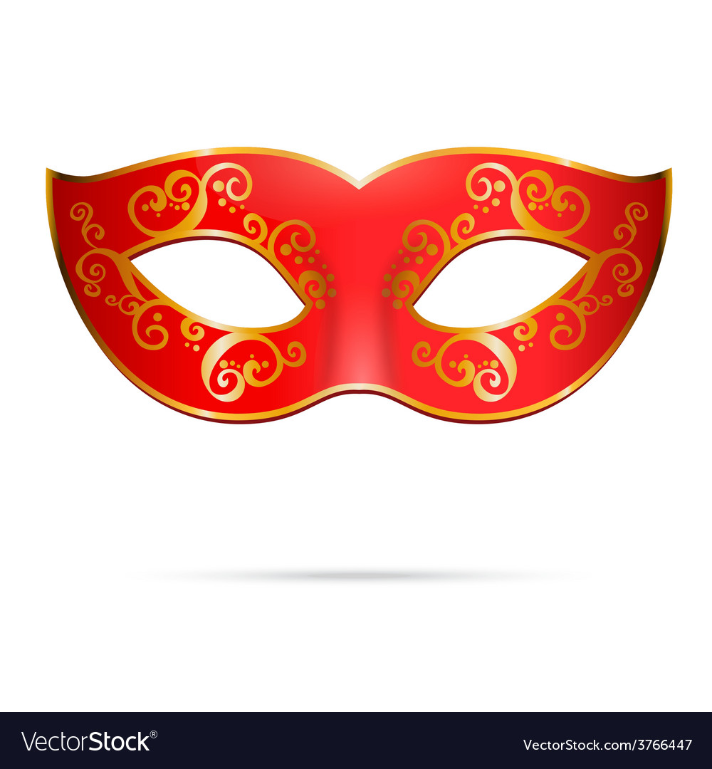 Red venetian carnival mardi gras party mask vector | Price: 1 Credit (USD $1)