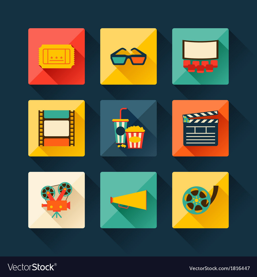 Set of movie design elements in flat style vector | Price: 1 Credit (USD $1)