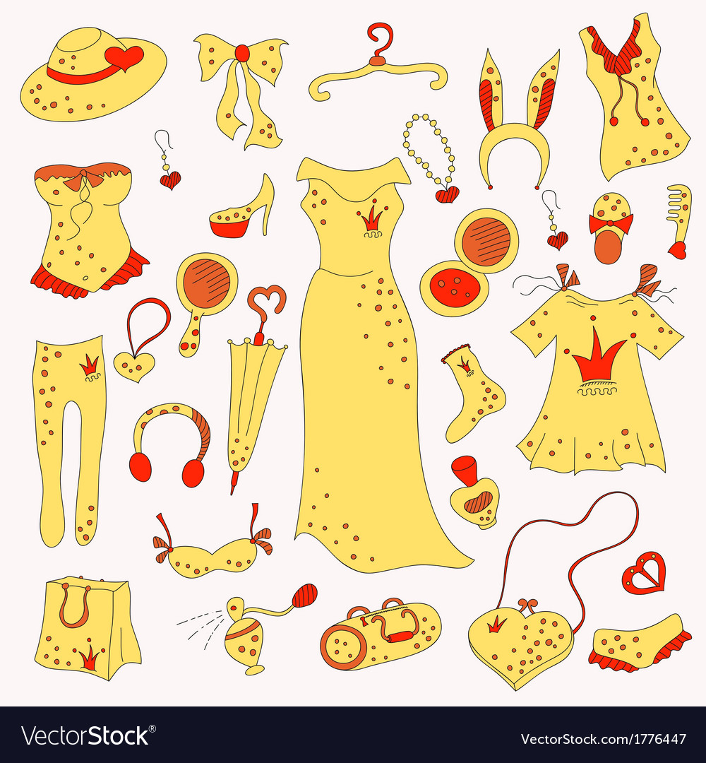 Stylish hand drawn composition of fashion items vector | Price: 1 Credit (USD $1)