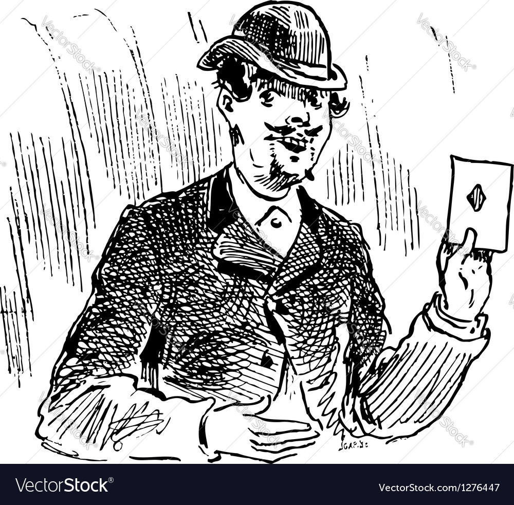 The three card trickster engraving vector | Price: 1 Credit (USD $1)