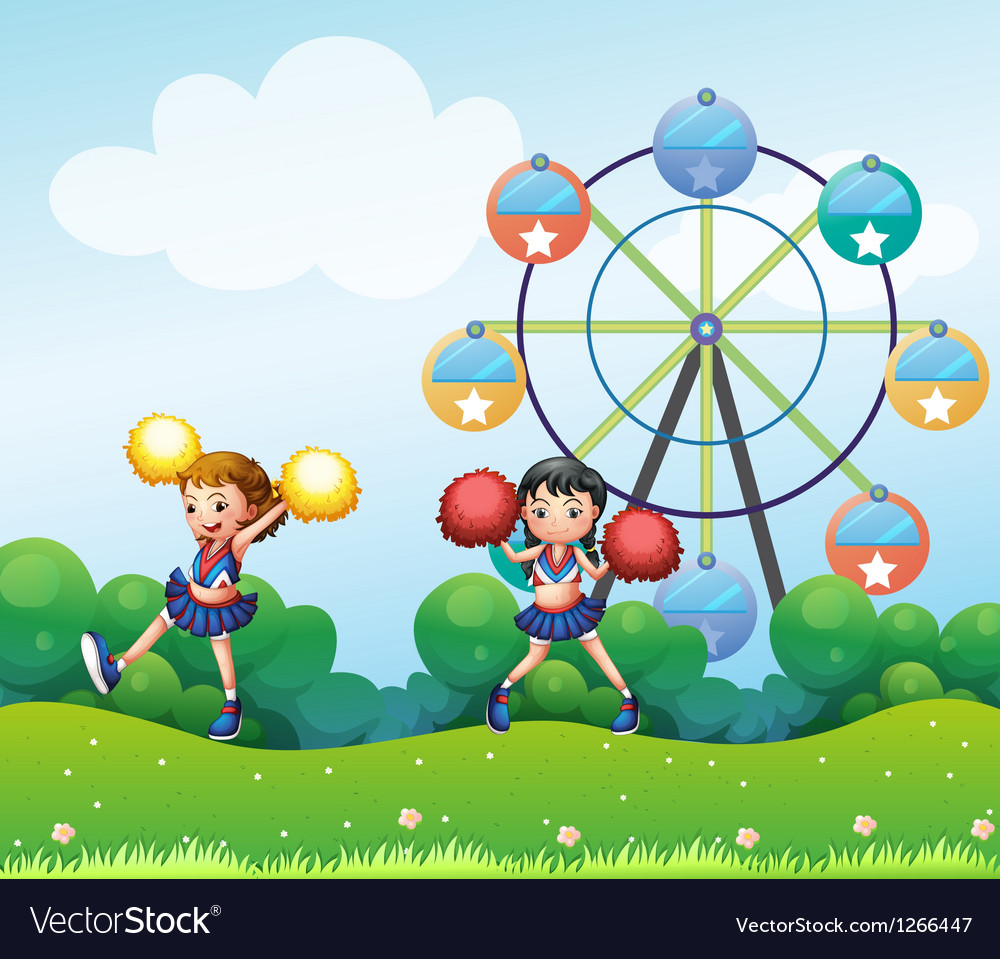 Two cheerers dancing in the hill with a ferris vector | Price: 1 Credit (USD $1)