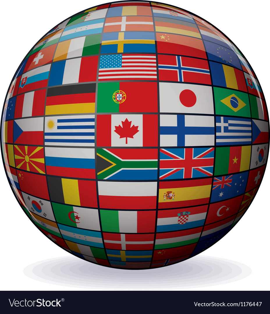 World flags globe image vector | Price: 1 Credit (USD $1)