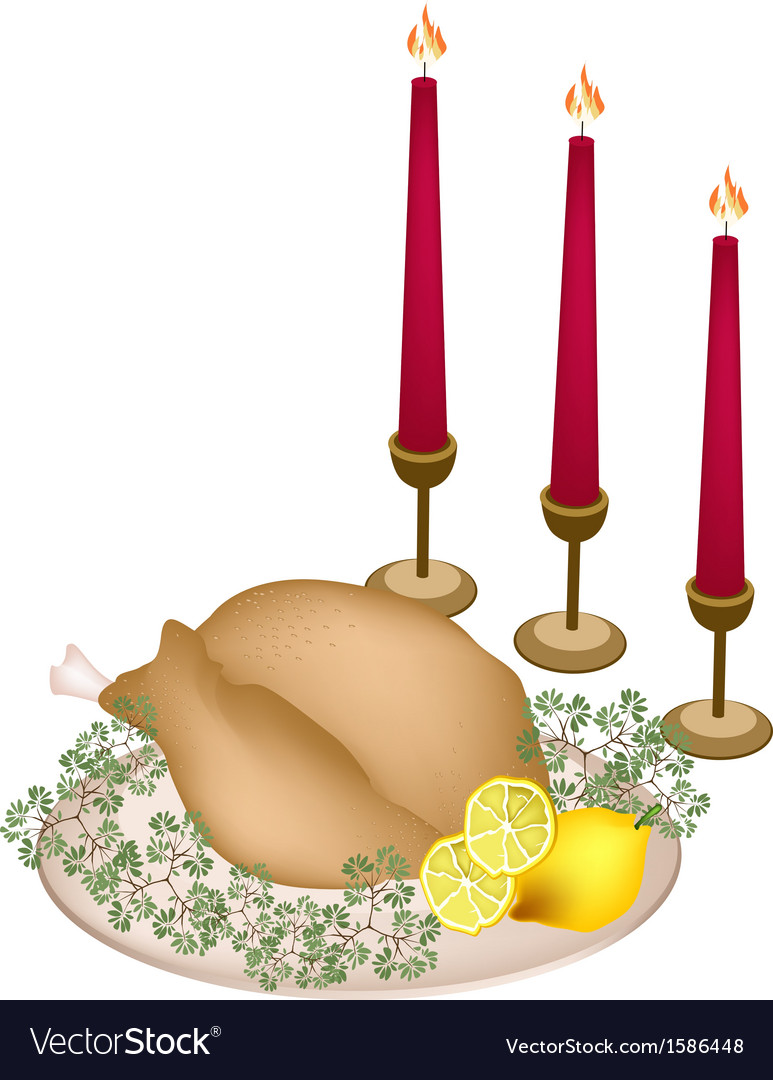 A delicious roast turkey and herbs with candles vector | Price: 1 Credit (USD $1)