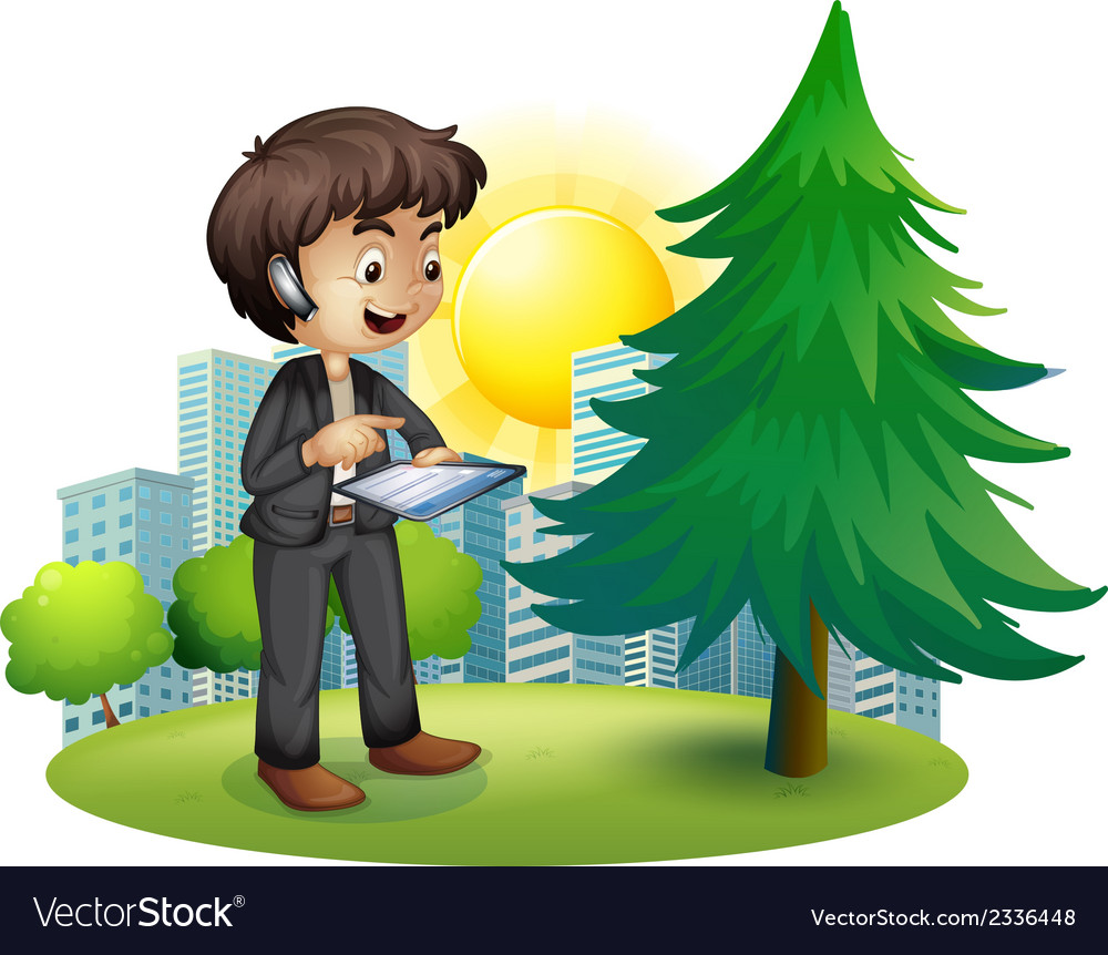 A man using his gadget outside the building vector | Price: 3 Credit (USD $3)