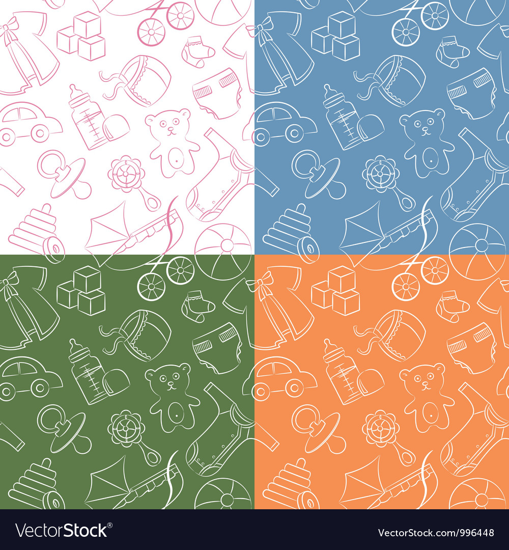 Four cute doodle baby seamless patterns vector | Price: 1 Credit (USD $1)
