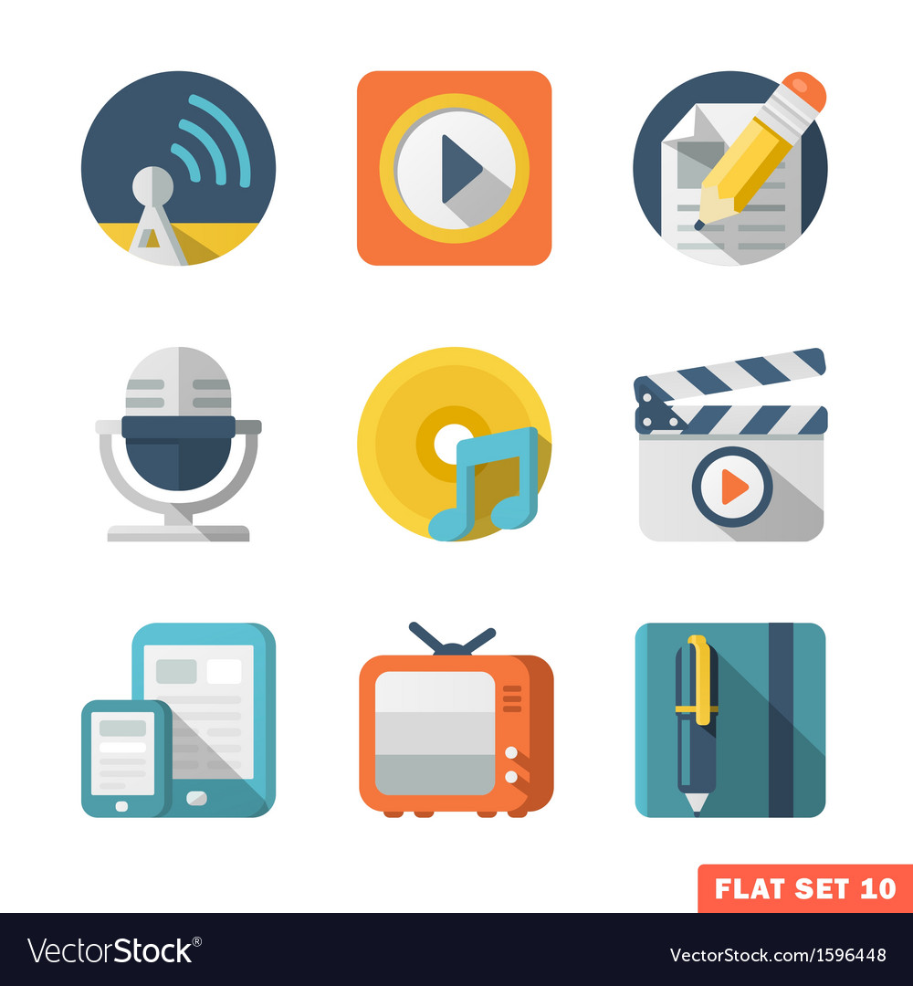 Media and communication flat icons vector | Price: 1 Credit (USD $1)