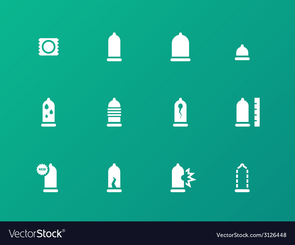 Safe sex condoms icons on green background vector | Price: 1 Credit (USD $1)