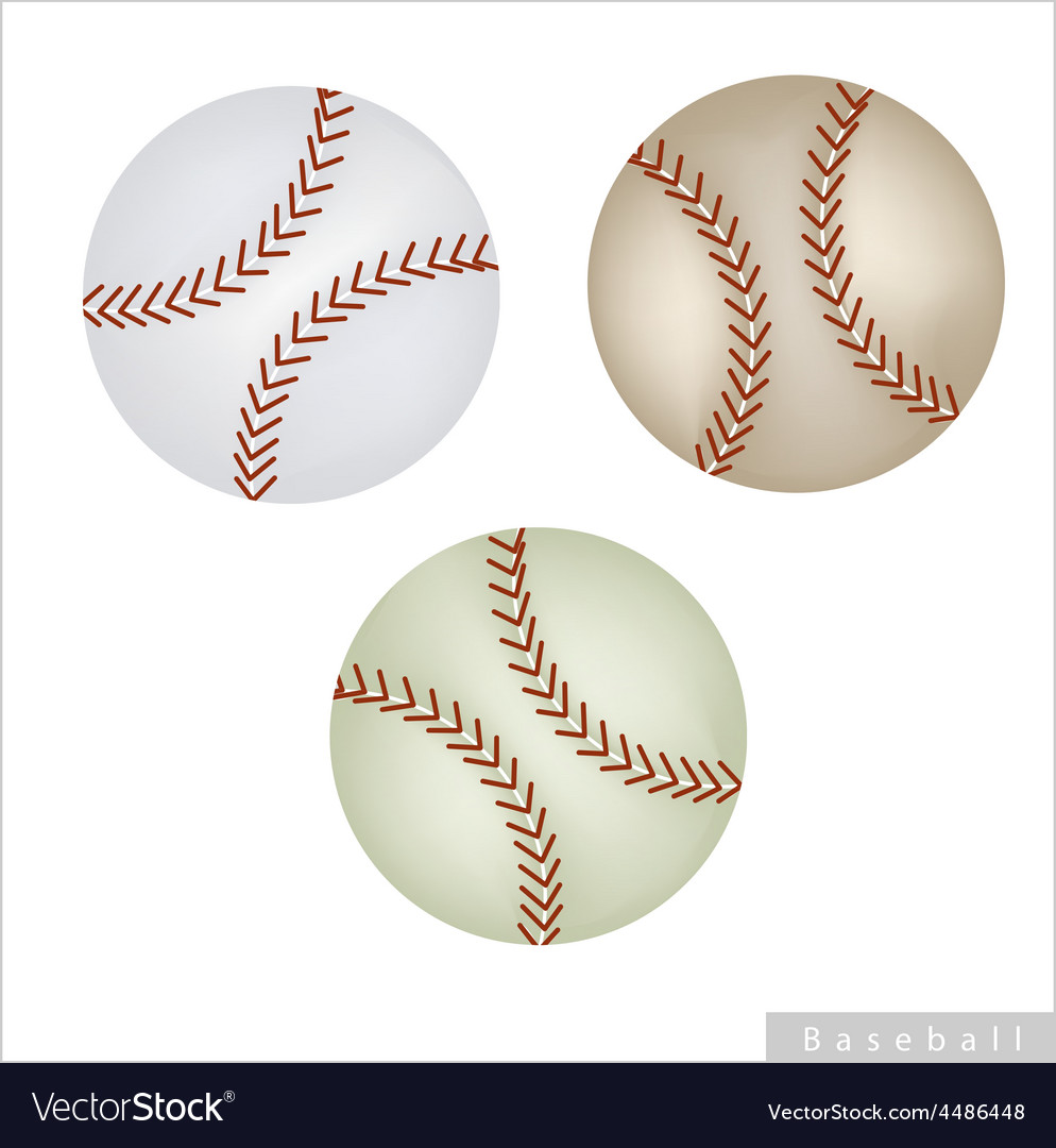 Set of baseball ball on white background vector | Price: 1 Credit (USD $1)