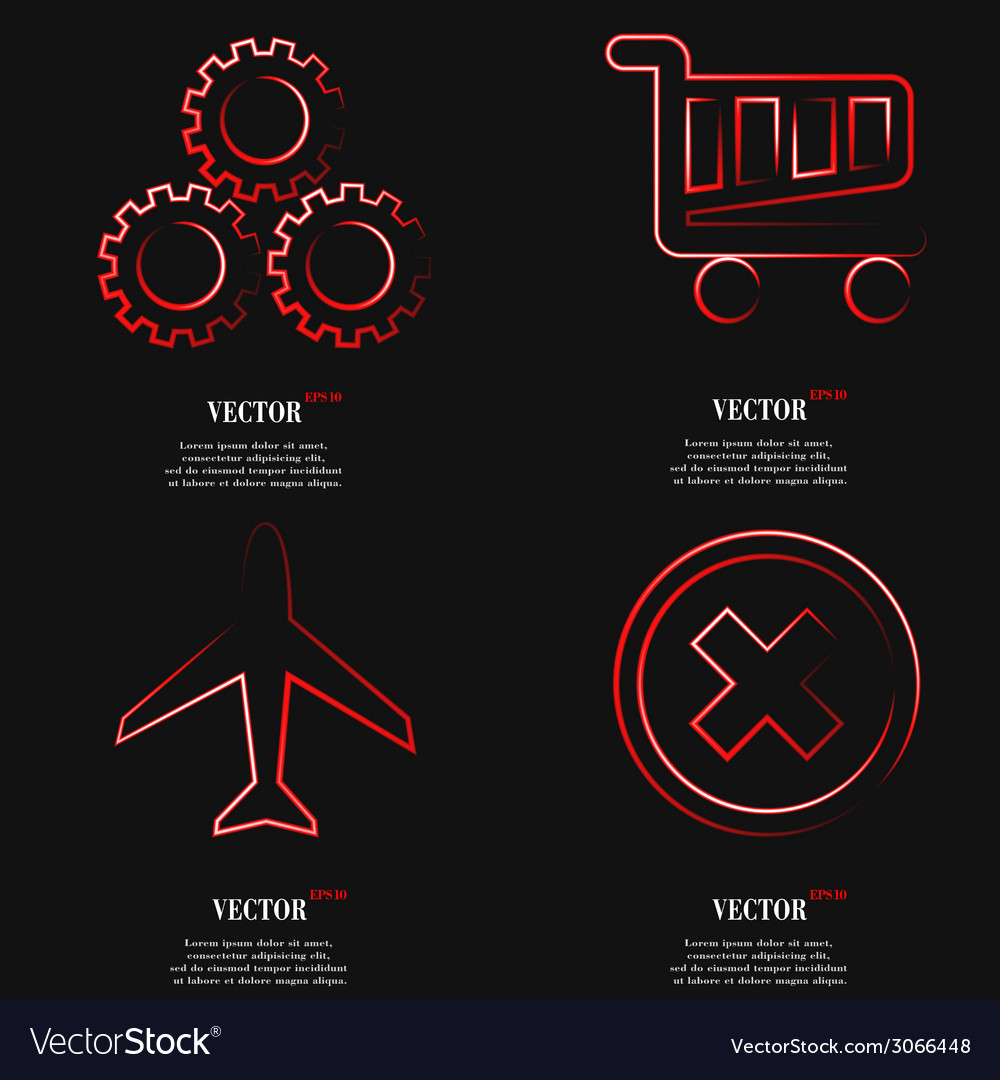 Set of fashionable red icons trending symbols flat vector | Price: 1 Credit (USD $1)