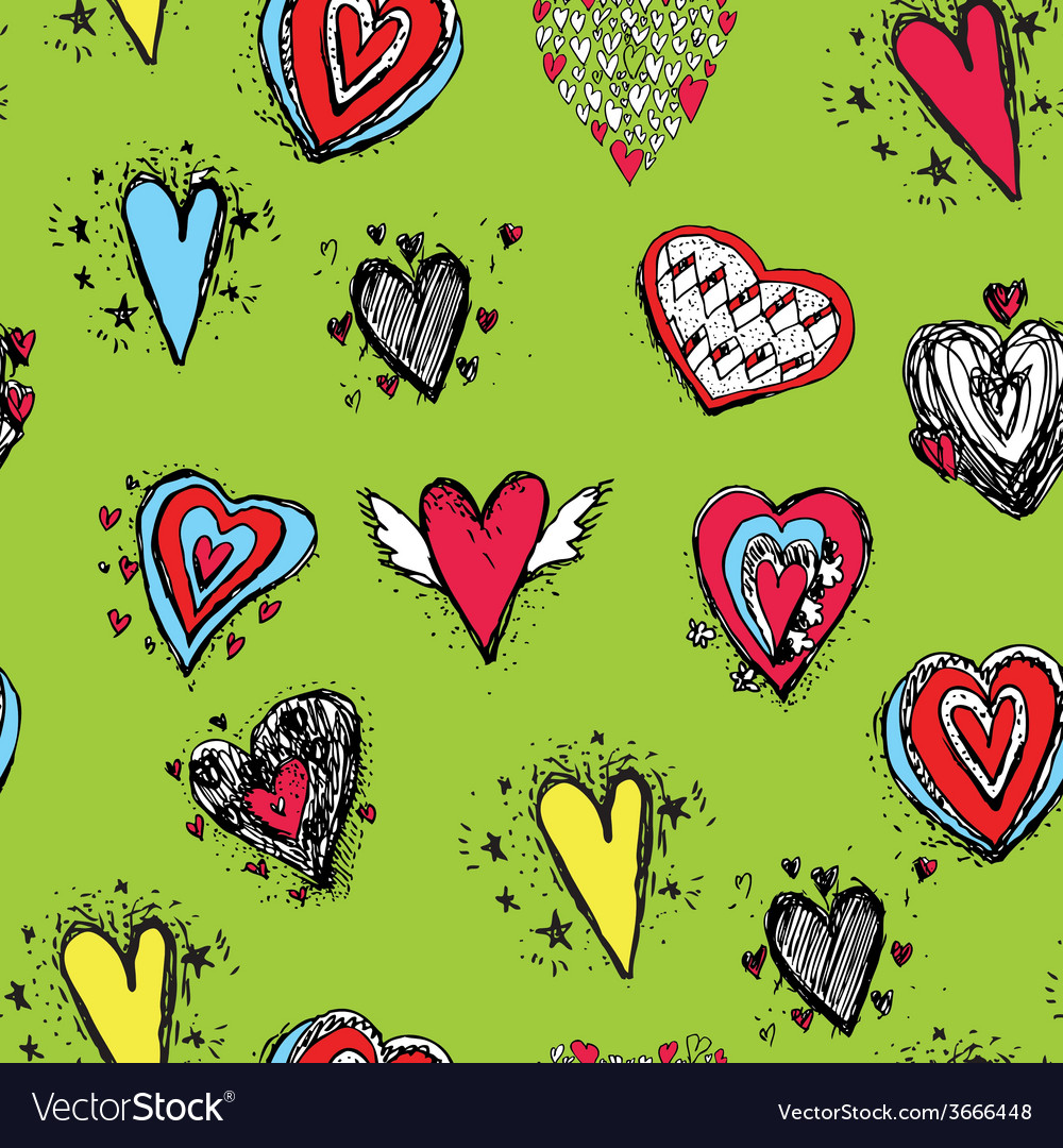 Set of funny heart with wings sketch doodle vector | Price: 1 Credit (USD $1)