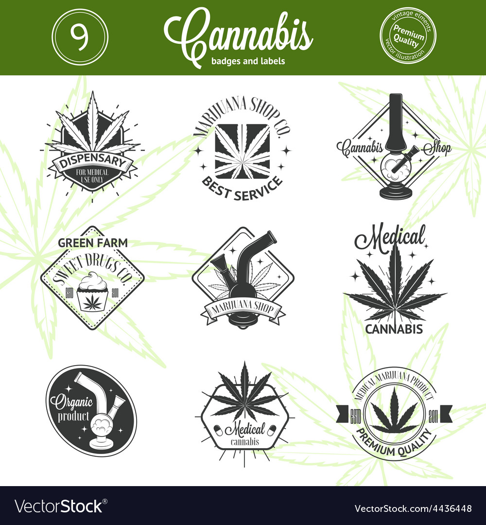 Set of medical marijuana logos cannabis badges vector   Price: 1 Credit (USD $1)
