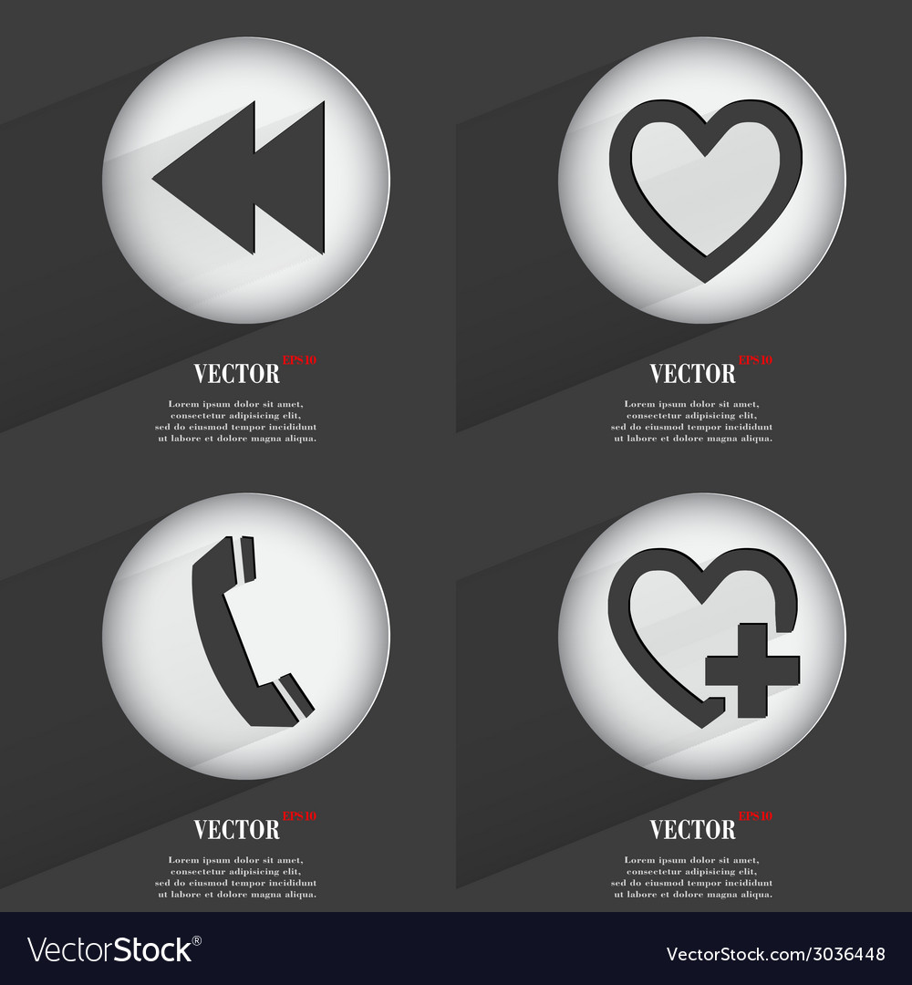 Set of trendy buttons icons with long shadow vector   Price: 1 Credit (USD $1)