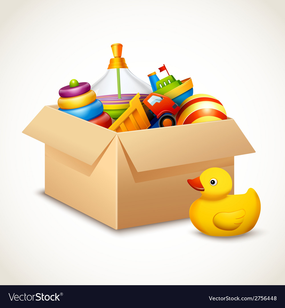 Toys in box vector | Price: 3 Credit (USD $3)