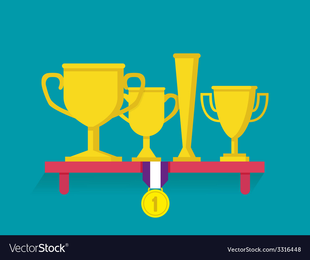 Trophy and awards on shelf vector | Price: 1 Credit (USD $1)