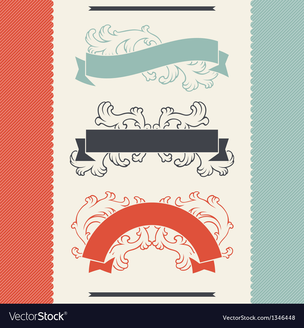 Vintage floral design elements and ribbons vector | Price: 1 Credit (USD $1)