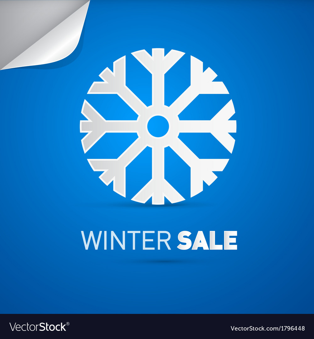 Winter sale title and snowflake on blue background vector | Price: 1 Credit (USD $1)