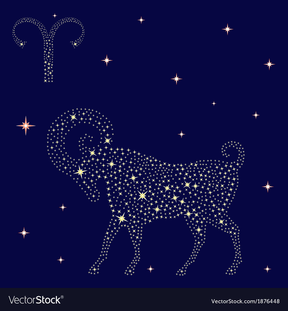 Zodiac sign aries on the starry sky vector | Price: 1 Credit (USD $1)