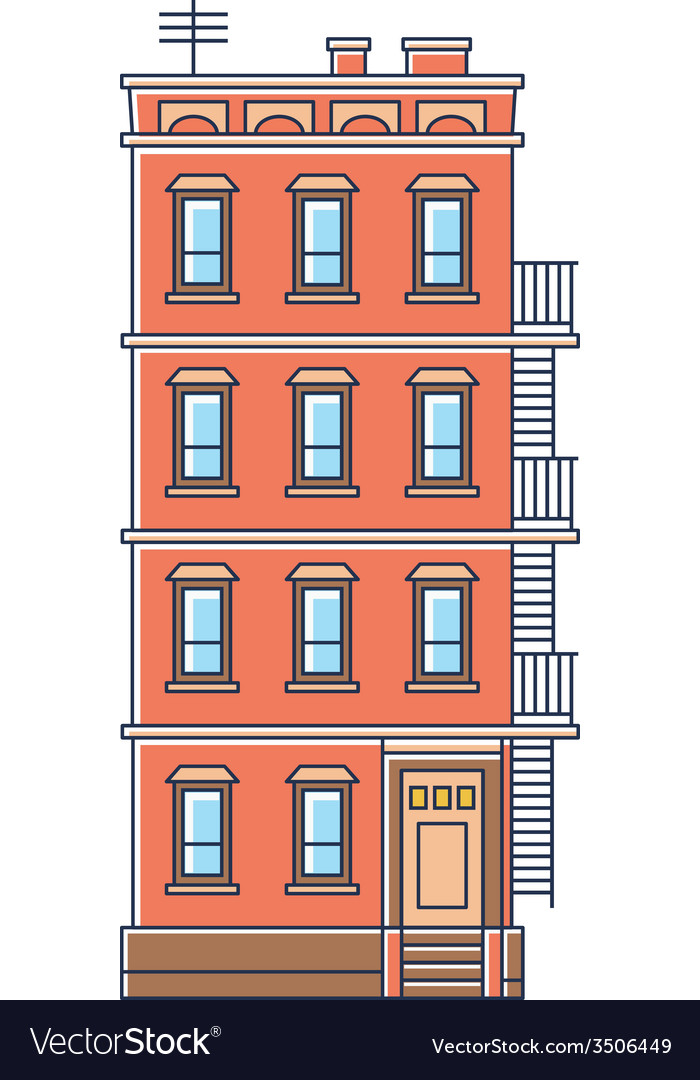 - new york united states red brick old building vector | Price: 1 Credit (USD $1)