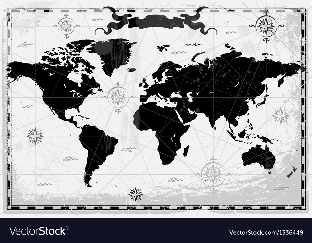 Black ancient world map vector | Price: 1 Credit (USD $1)