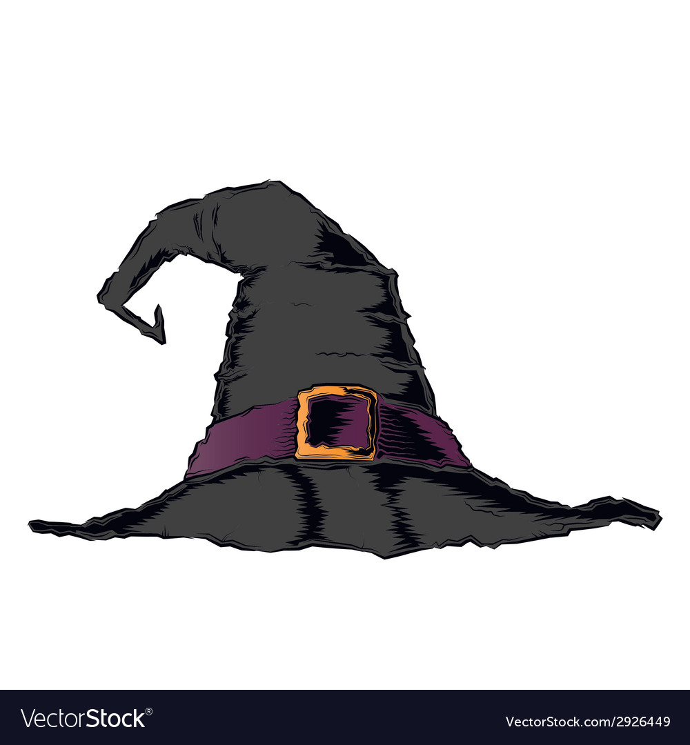 Black creepy witch hat with violet belt vector | Price: 1 Credit (USD $1)