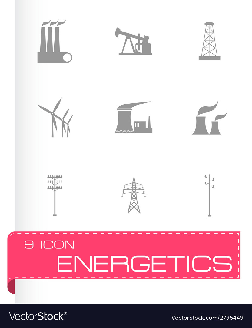 Black energeticsl icons set vector | Price: 1 Credit (USD $1)