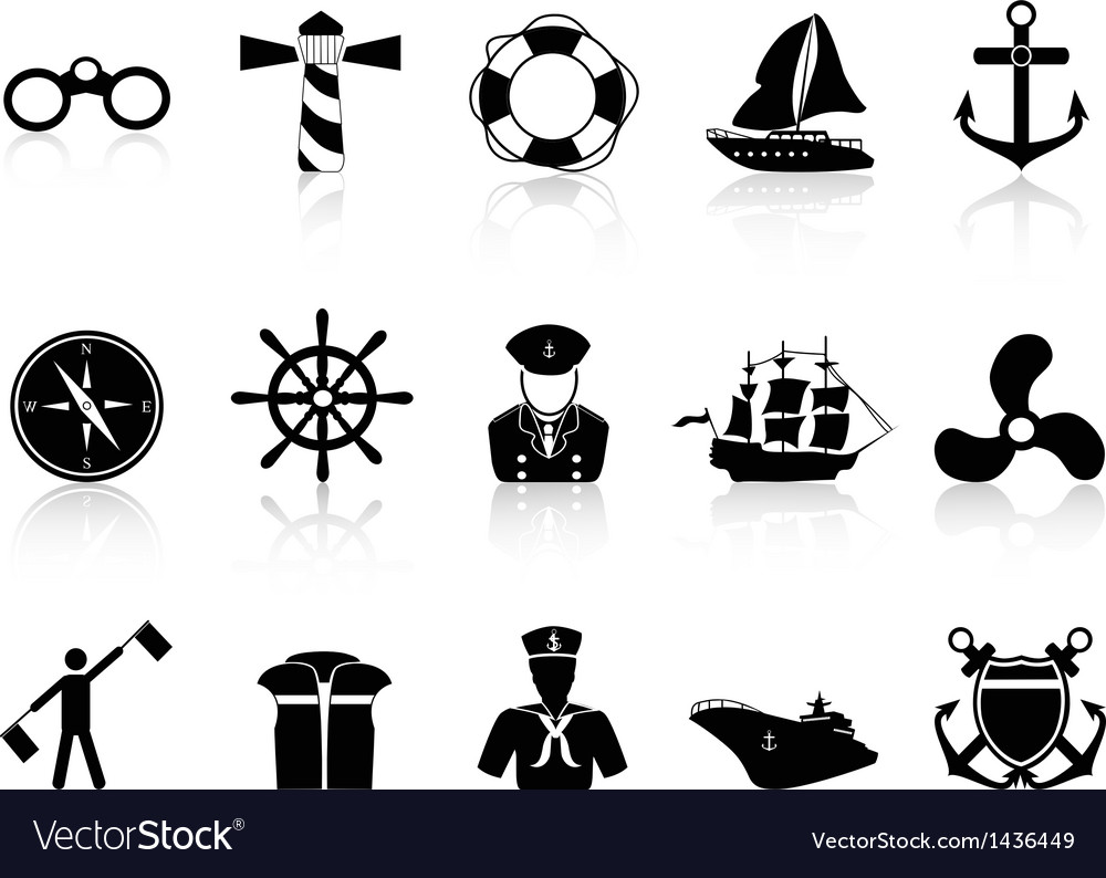 Black sailing icons vector | Price: 1 Credit (USD $1)