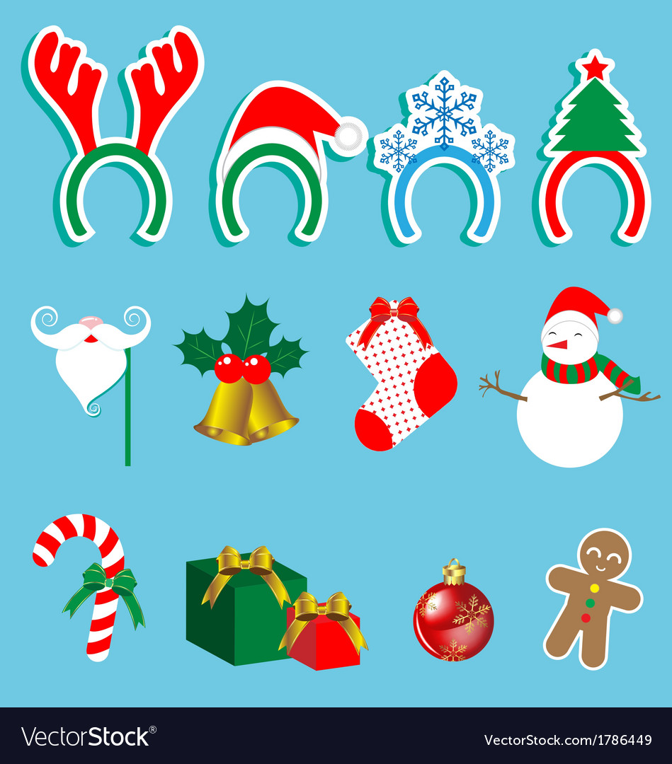 Christmas accessory set vector | Price: 1 Credit (USD $1)