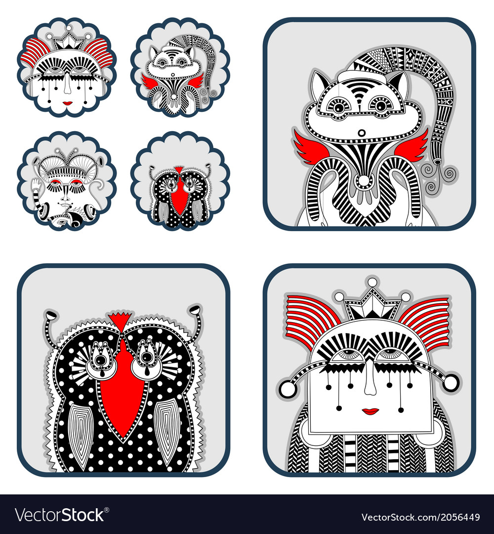 Cute ornate doodle fantasy monster vector | Price: 1 Credit (USD $1)