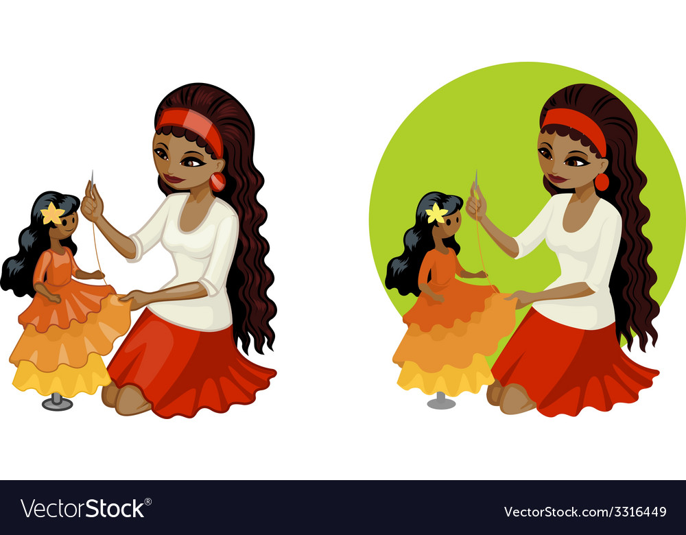 Cute young african american woman hobbyist sewing vector | Price: 3 Credit (USD $3)