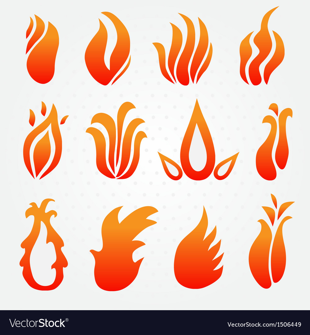 Fire flame icons set vector | Price: 1 Credit (USD $1)