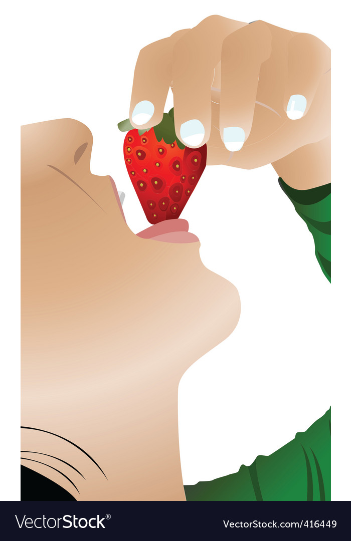Girl eating strawberry vector | Price: 1 Credit (USD $1)