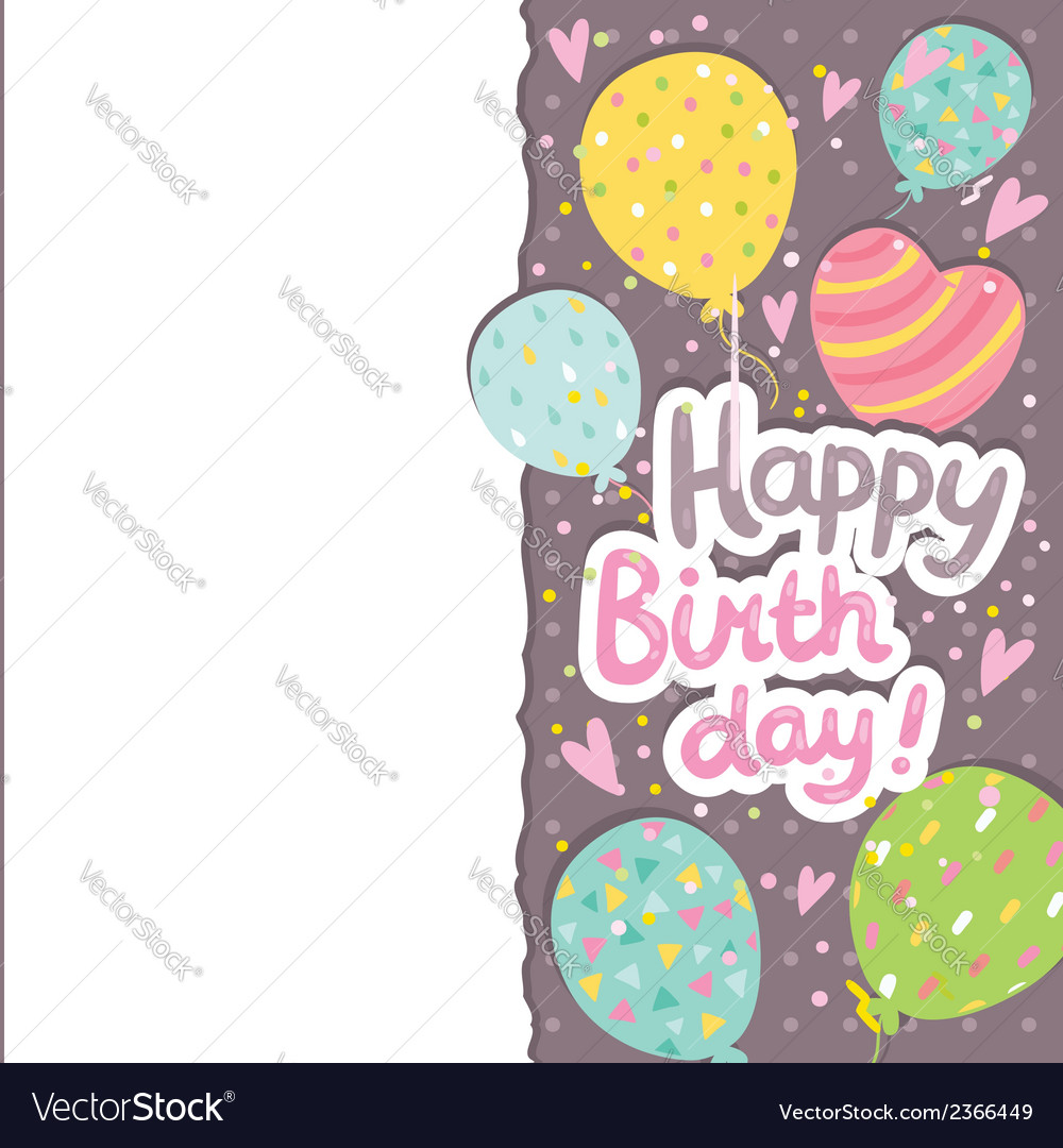 Happy birthday card background with balloons vector | Price: 1 Credit (USD $1)