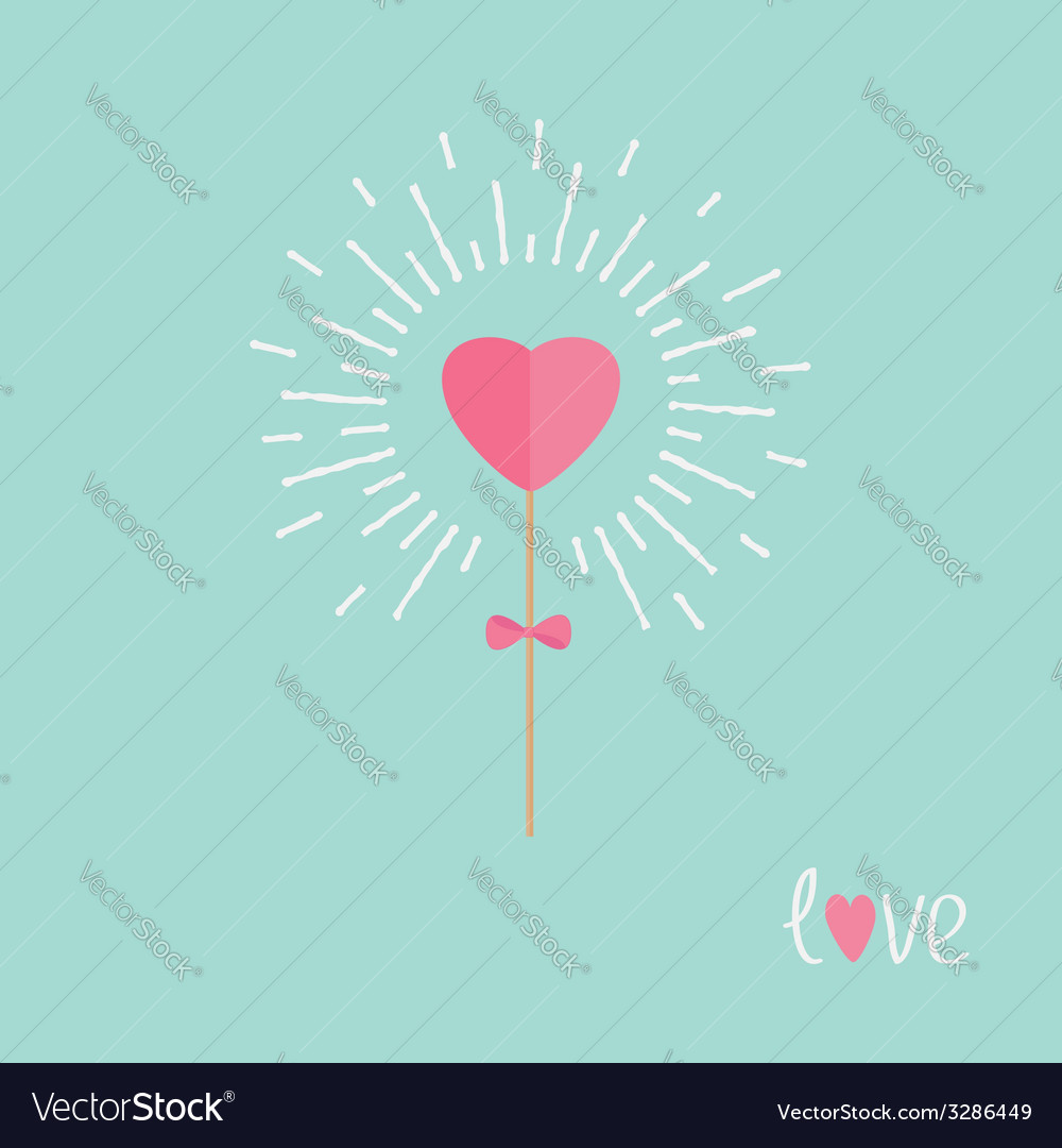 Heart on the stick with bow shining light effect vector | Price: 1 Credit (USD $1)