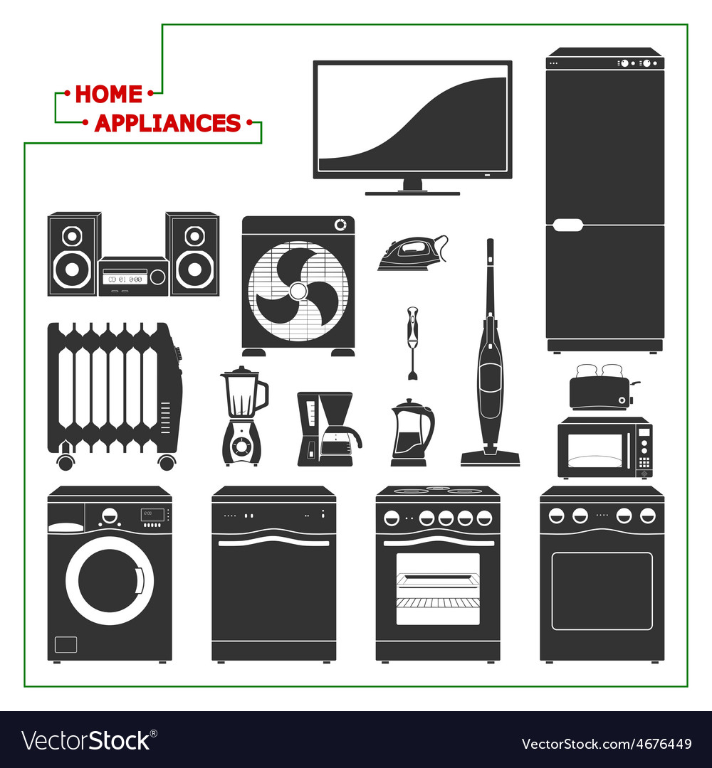 Scaled monochromatic home appliances vector | Price: 1 Credit (USD $1)