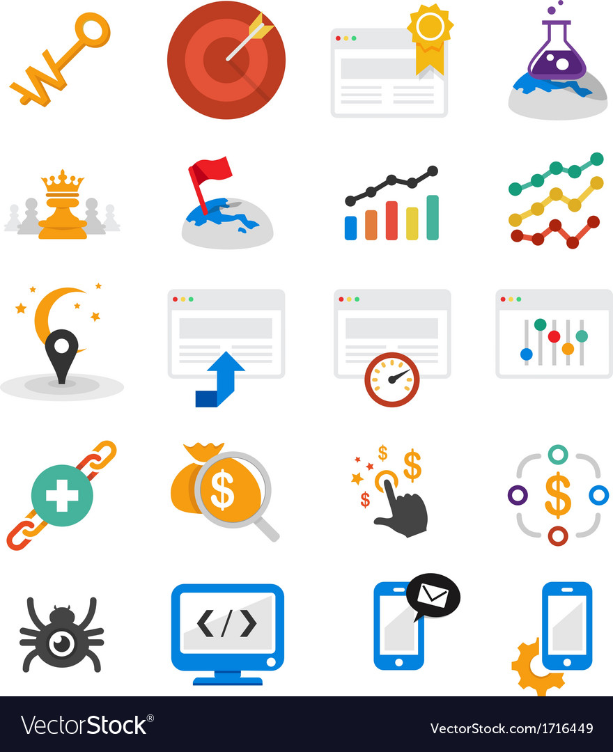 Seo flat icons vector | Price: 1 Credit (USD $1)
