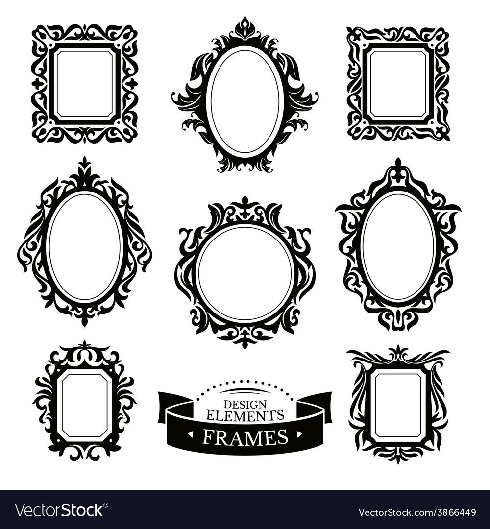 Set of vintage baroque frames vector   Price: 1 Credit (USD $1)